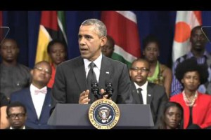President Obama welcomes Zimbabwe's own Abigail Muleya to the Young African Leaders Town Hall