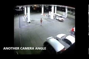 CCTV footage of car smashing into service station in Harare