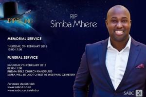 Simba Mhere memorial service (SABC)