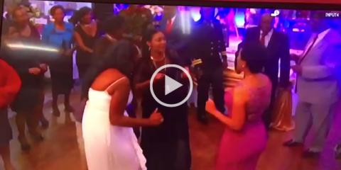 Chiyangwa dancing with his wife and Zanu PF chefs