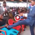 Watch this Pastor brutally kicking a pregnant woman's stomach