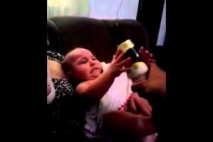 Baby prefers beer over milk (Video)