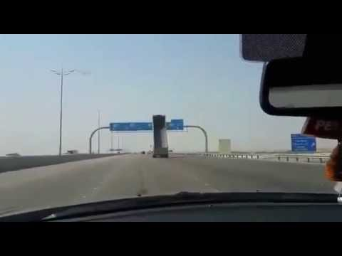 Watch this truck crashing into the  Highway Sign